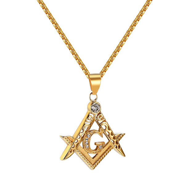 Freemason Masonic G Pendant Chain Simulated Diamonds