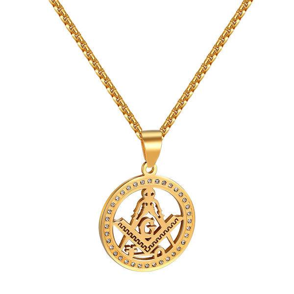 Masonic G Compass Pendant Necklace Freemason Simulated Diamonds