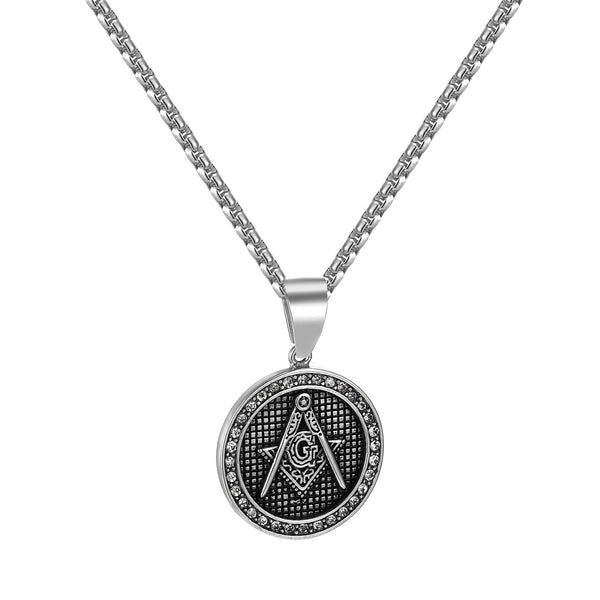 Freemason Mason Pendant Round Coin Design Stainless Steel