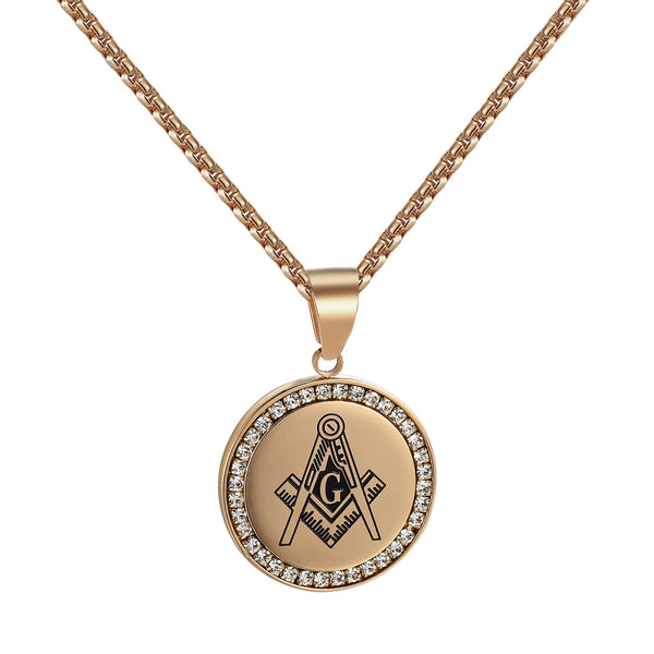 Mason Square Compass Coin Pendant Rose Gold Tone