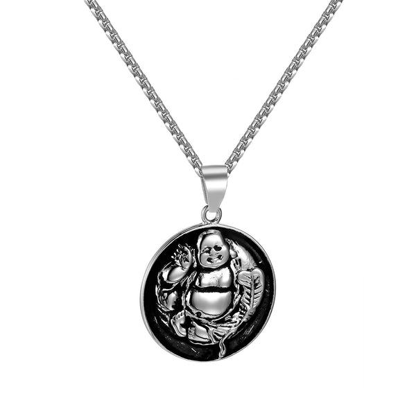 Laughing Buddha Pendant Stainless Steel Box Necklace