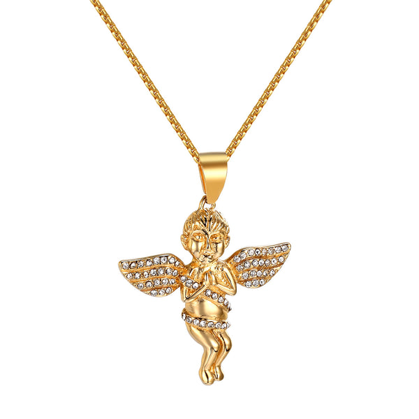Praying Angel Cherub Pendant Chain Guardian Iced Out