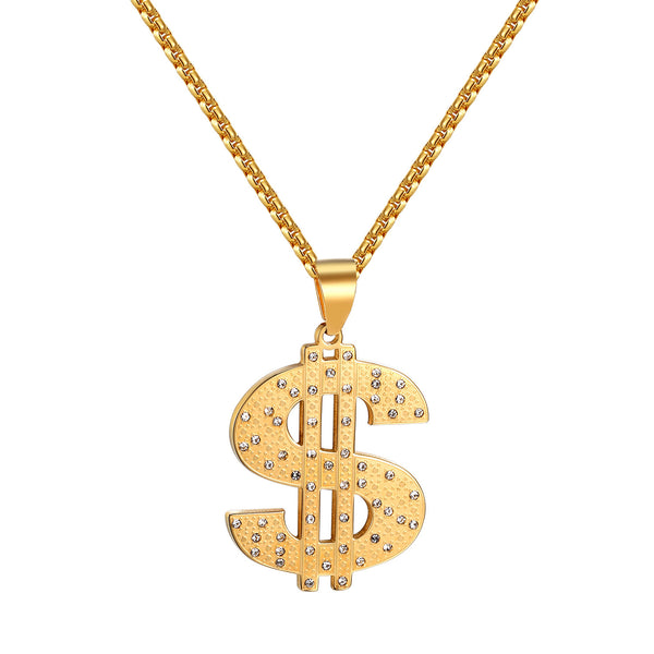 Dollar Sign Pendant Gold Finish Stainless Steel Simulated Diamond