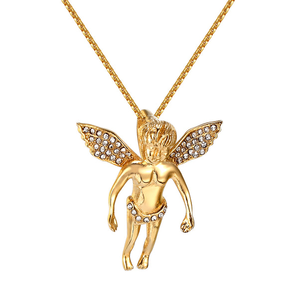 Archangel Pendant Holy Cherub Stainless Steel Simulated Diamonds