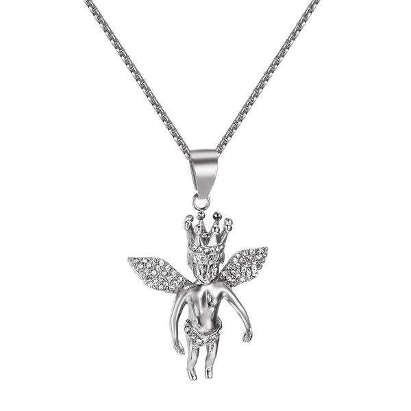 Praying Angel Pendant Iced Out Simulated Diamonds Stainless Steel Free Chain