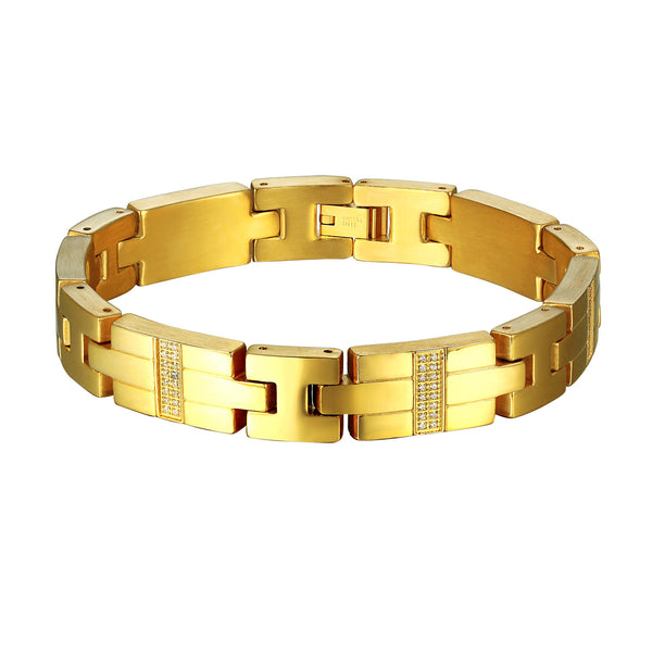 14k Gold Plate Bracelet Stainless Steel Simulated Diamonds