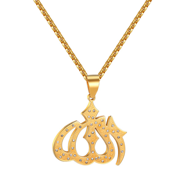 Allah Muslim God Pendant Simulated Diamond Gold Tone