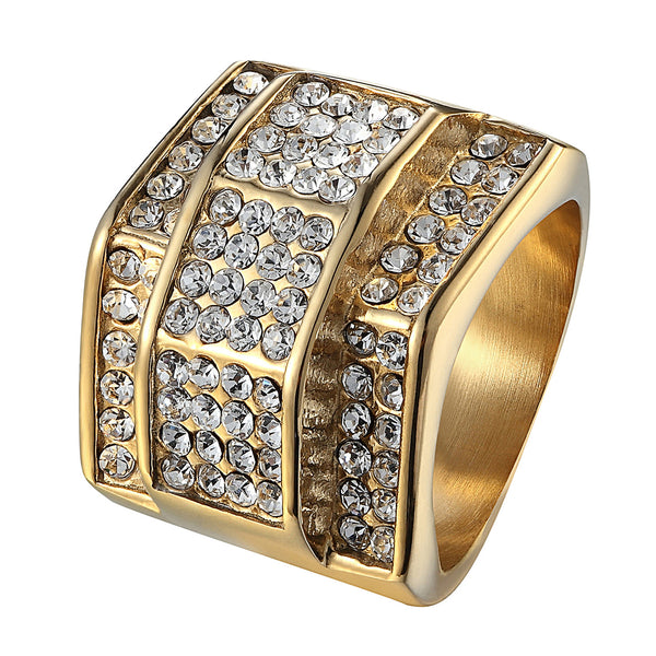 14K Gold Tone Iced Out Hip Hop Wedding Engagement Pinky Men Ring Stainless Steel