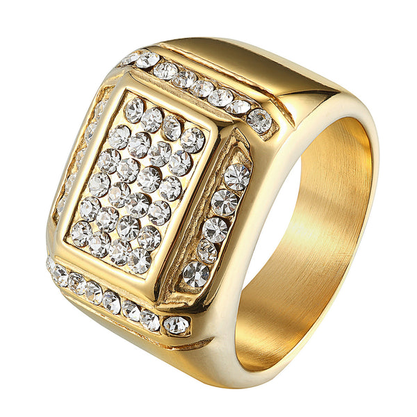 Hip Hop Wedding Engagement Iced Out Pinky Ring 14k Gold Finish Stainless Steel