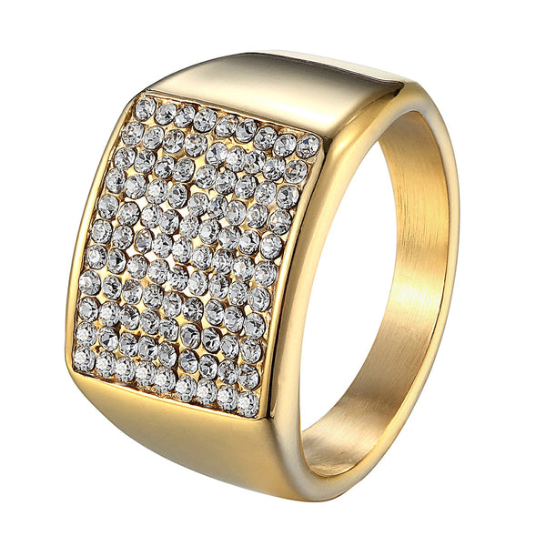 Mens Stainless Steel Engagement Ring PInky Iced Out Bling 14k Gold Tone Custom