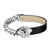 Miami Cuban Medusa Bracelet Black Leather 8.0 Inch Stainless Steel
