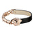 Miami Cuban Medusa Bracelet Black Leather Rose Gold Tone