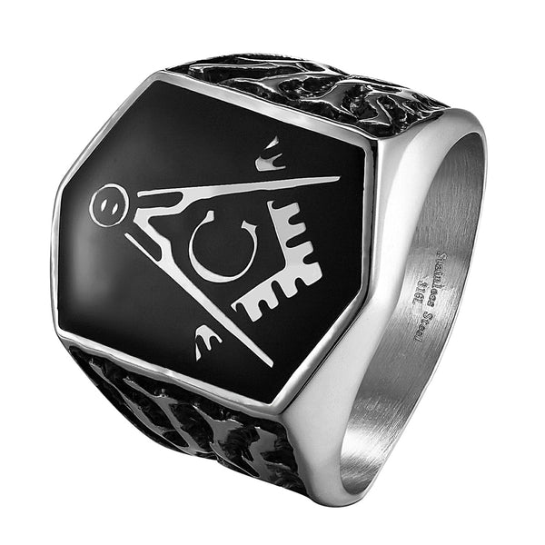 Freemason Masonic G Ring Mens Stainless Steel Custom Style Mason Master New