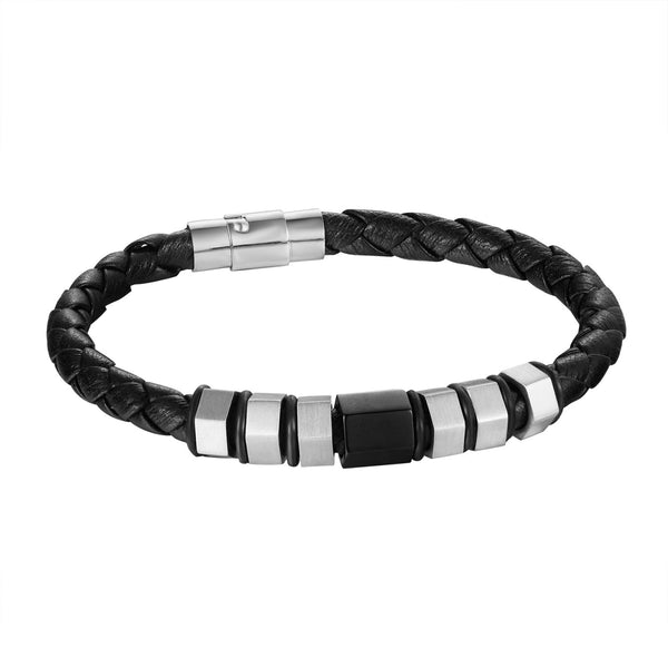 Black Braided Leather Bracelet Design