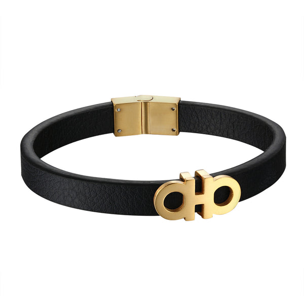 AA Design Leather Bracelet 14k Gold Finish Stainless Steel 12mm Custom Style Luxury
