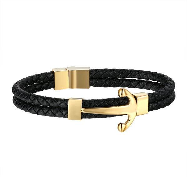 Anchor Design Bracelet 2 Row Black Rope Wristband Gold Tone Stainless Steel Unique