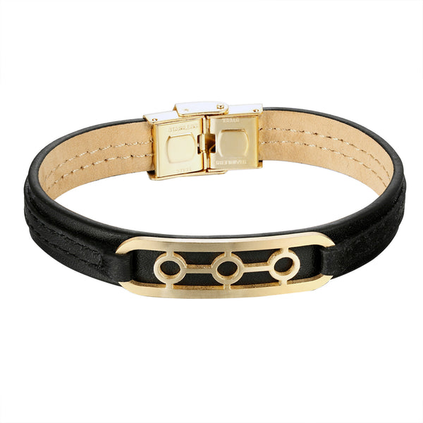 14k Gold Tone Bracelet Black Leather Wristband 3 Circle Design Stainless Steel Unique