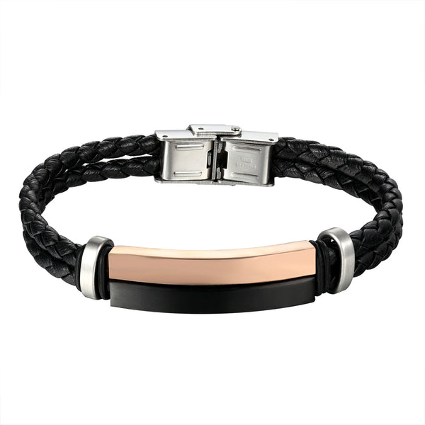 Rose Black Bar Design Bracelet Stainless Steel 2 Row Braided Leather Wristband