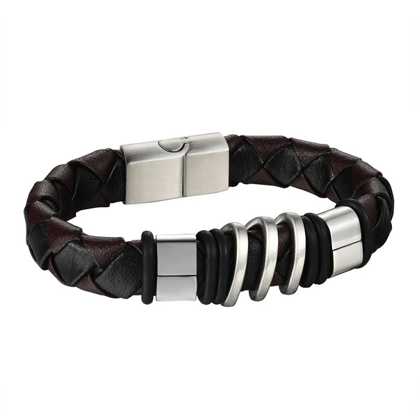 Stainless Steel Mens Bracelet Brown Leather Wristband 14k White Gold Finish 16mm
