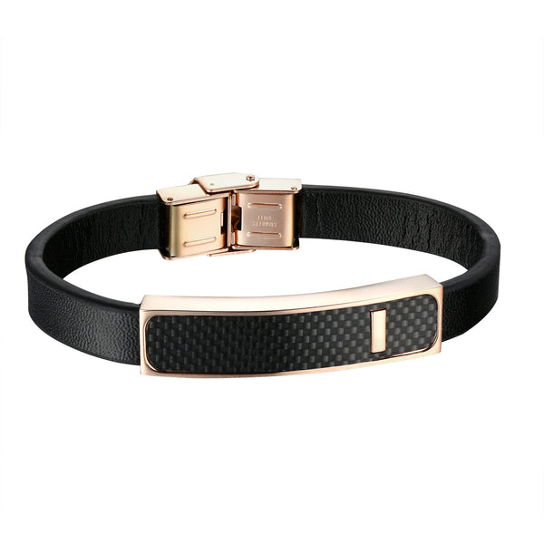 Rose Gold Finish Bracelet Carbon Fiber ID Design Stainless Steel Black Leather Band