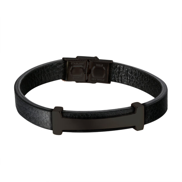 Luxury H Design Bracelet Black Leather Wristband Stainless Steel Custom Style 8.0
