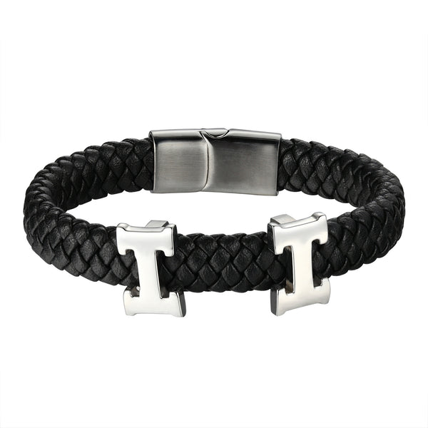 HH Luxury Design Bracelet Braided Black Leather Wristband Stainless Steel 12mm