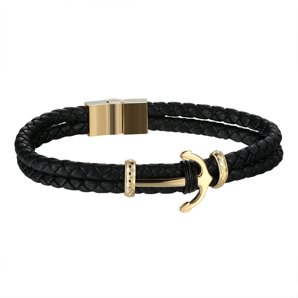 Anchor Design Bracelet Gold Finish Stainless Steel Black Rope Wrist Band Classy
