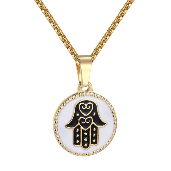 Ladies Hamsa Hand Pendant Stainless Steel Charm Box Necklace 24 Inch Gold Tone