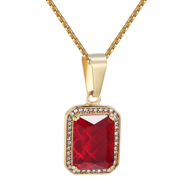 Red Ruby Glass Solitaire Pendant Hip Hop Gold Tone Iced Out Stainless Steel Free Chain