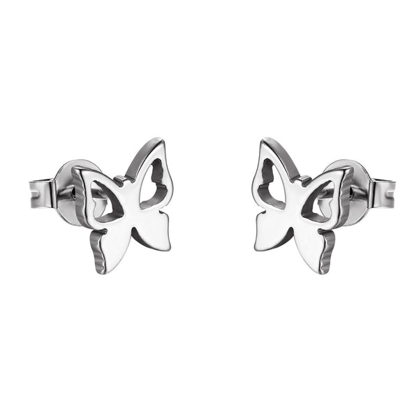 Butterfly Design Earrings Stainless Steel Studs Silver Tone Womens Ladies Girls