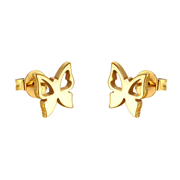 Stainless Steel Butterfly Design Earrings Gold Tone 9mm Studs Ladies Girls
