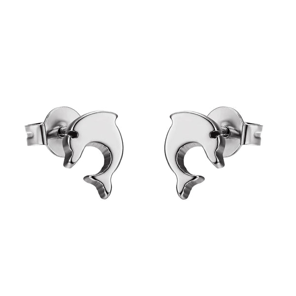 Stainless Steel Jumping Dolphin Earrings Silver Tone Womens Studs Cute 8mm