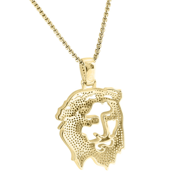 Sterling Silver 14k Gold Finish Ghost Cut Out Religious Jesus Hip Hop Pendant Free 24