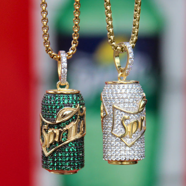 Iced Out Lean Cup Sprite Can Purple Drank Bottle Pendant Chain