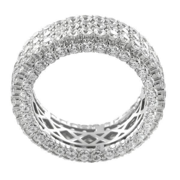 14k White Gold Finish Men's Iced Out Prong Solitaire Eternity Wedding Ring Band