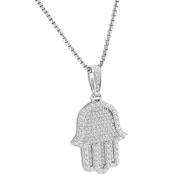 Silver Religious Designer Iced Out Hamsa Hand Pendant14k White Gold Finish Free 24