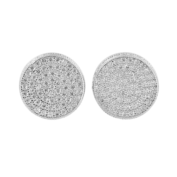 Sterling Silver  Round Screw On White Gold Earings