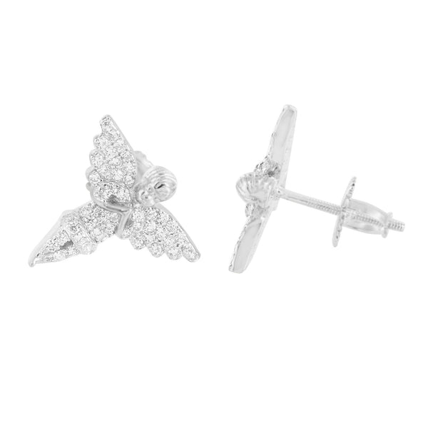 Angel Style Earrings Screw Back 925 Silver White Gold Tone Lab Created Diamonds