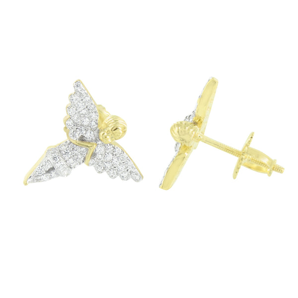 Angel Earrings Screw Back 14K Yellow Gold Over Sterling Silver Lab Create Diamond
