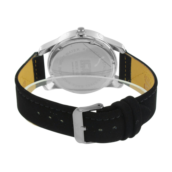 Mens Ice Mani Watch Black Strap Stainless Steel Back