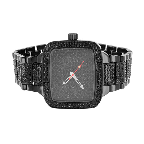 Black PVD Mens Watch Bracelet Gift Set Analog