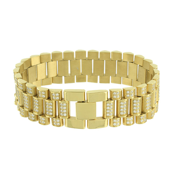 Presidential Style Link Bracelet Mens 14k Gold Over Stainless Steel Lab Diamonds