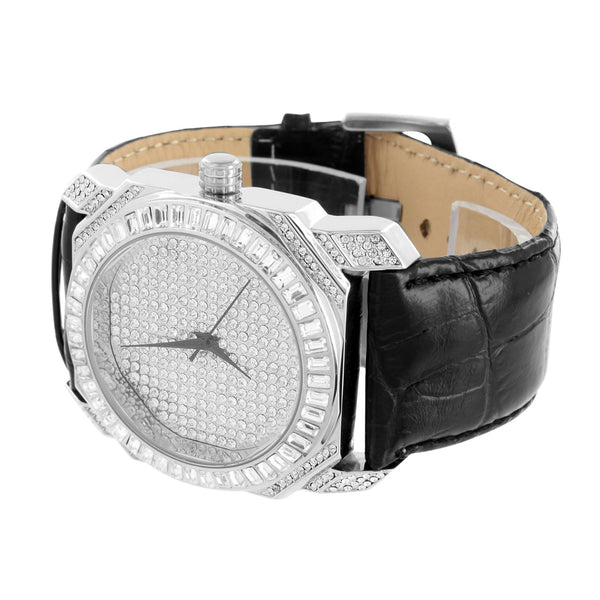 Watch Baguette Lab Diamond Black Leather Band Steel Back Classy