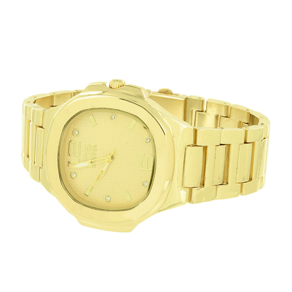 Gold Finish Jojo Watch Ice Master Metal Band Jojino Look Mens Ladies Analog