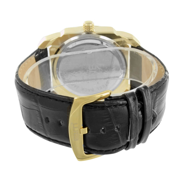 Gold Finish Watch Mens Baguette Lab Diamonds Micro Pave