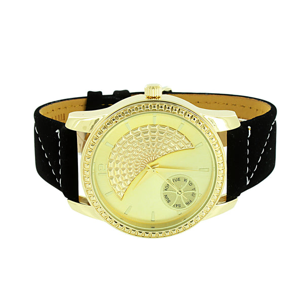 Mens Gold Finish Watch Back Leather Strap Ice Mani Stainless Steel Case