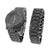 Mens Black PVD Watch Free Matching Bracelet Gift Set Black Stones