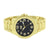Gold Tone Watch Fluted Bezel Black Dial Analog Joe Rodeo Jojino Ice Master Mens