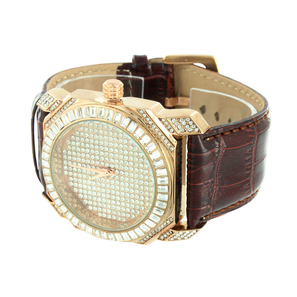 Rose Gold Finish Watch Lab Diamonds Baguette Stones Brown Leather