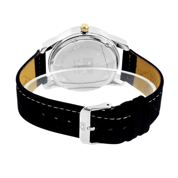 Men 2 Tone Watch Ice Mania Gold Dial Black Strap Analog